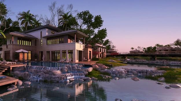 Rendu 3d, belle maison contemporaine, près, recours, et, rivière, à, coucher soleil Photo Premium