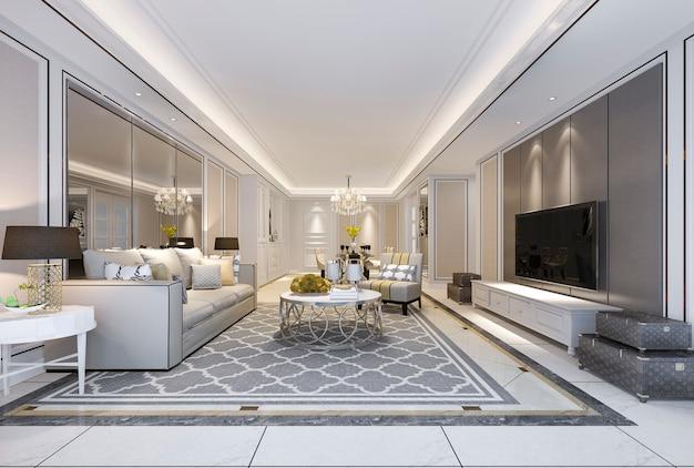 Rendu 3d Belle Salle A Manger Et Salon Moderne Avec Une Decoration De Luxe Et Un Canape En Tissu Pres D Un Miroir Photo Premium