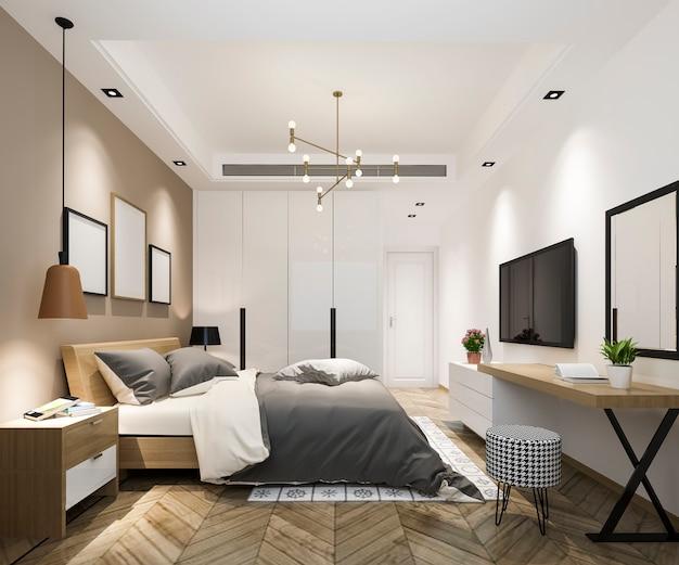 Rendu 3d belle suite de chambre de luxe dans l'hôtel avec tv et table de travail Photo Premium