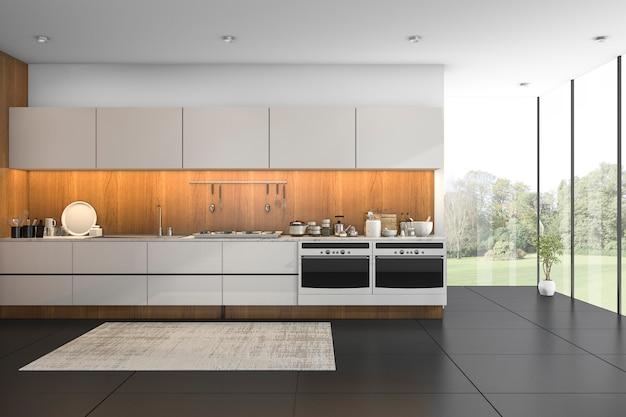 Rendu 3d belle vue cuisine en bois avec carrelage noir Photo Premium