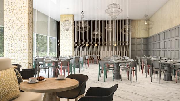 Rendu 3d belle vue du restaurant de l'hôtel de luxe Photo Premium