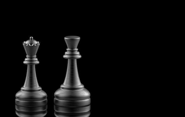Rendu 3d. black king et queen aux échecs sur fond noir. Photo Premium