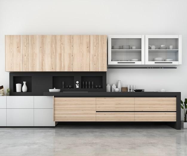Rendu 3d blanc minimal maquette cuisine avec décoration en bois Photo Premium