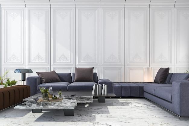 Rendu 3d bleu et brun canapé situé dans la chambre blanche de luxe classique Photo Premium