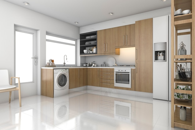Rendu 3d bois buanderie moderne et cuisine Photo Premium