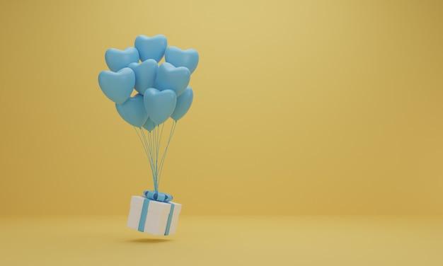 Rendu 3d. Boîte Cadeau Blanche Avec Ruban Bleu Et Coeur Ballon Sur Fond Jaune. Concept Minimal. Photo Premium
