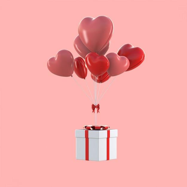 Rendu 3d De Boîte-cadeau Flottant Avec Des Ballons En Forme De Coeur, Concept De La Saint-valentin Photo Premium