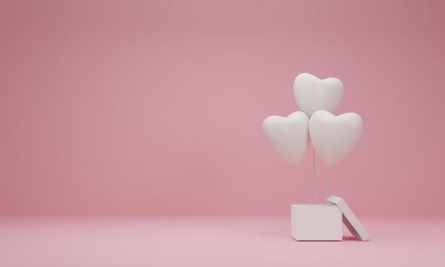 Rendu 3d. Boîte Cadeau Ouverte Avec Coeur Ballon Sur Fond Rose Pastel. Concept Minimal. Photo Premium