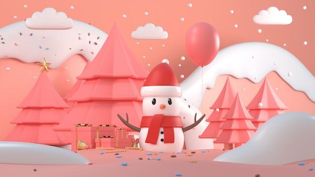 Rendu 3d De Bonhomme De Neige De Noël Avec Des Montagnes Enneigées, Des Arbres Et Des Cadeaux Photo Premium