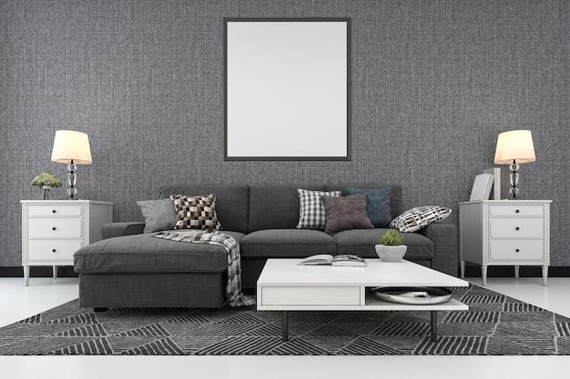 Rendu 3d cadre vierge dans le salon avec canapé Photo Premium