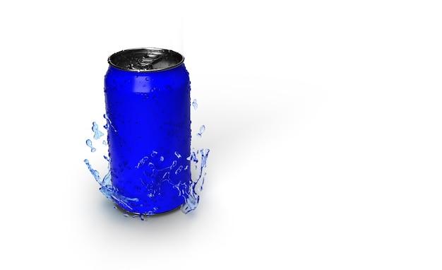 Le Rendu 3d D'une Canette Bleue De Soda Avec Des Gouttes D'eau Sur Elle Isolé Photo gratuit