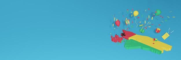 Rendu 3d De La Carte Du Drapeau De La Guinée-bissau Pour Célébrer La Journée Nationale Du Shopping Et La Fête De L'indépendance Photo Premium