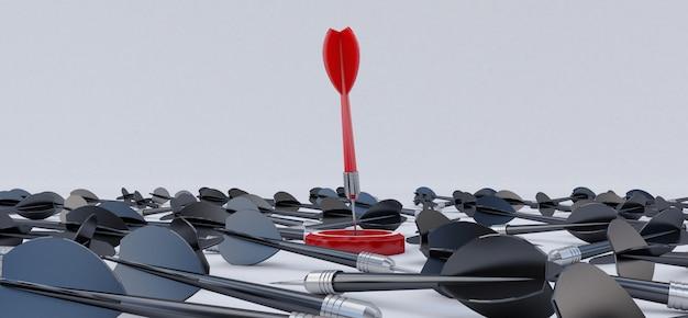 Rendu 3d. cible avec une fléchette au centre. notion de réalisation objective. Photo Premium