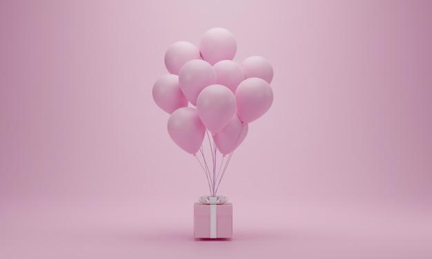 Rendu 3d. Coffret Rose Avec Des Ballons Sur Fond Pastel Avec Espace De Copie. Concept Minimal Pour Les Femmes Heureuses, Les Mères, La Saint-valentin, L'anniversaire. Photo Premium
