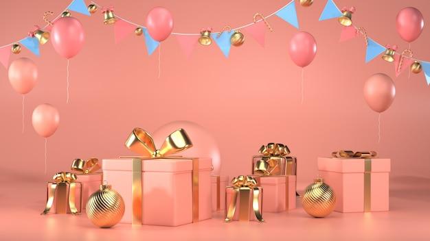 Rendu 3d De Coffrets Cadeaux, Guirlandes Et Ballons Photo Premium