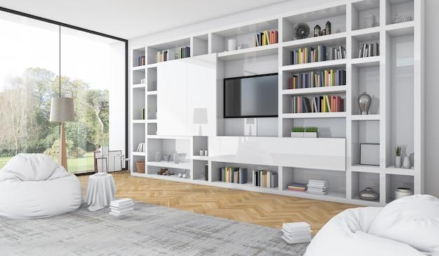Rendu 3d construit en blanc étagère avec sac de haricots dans le salon blanc moderne Photo Premium