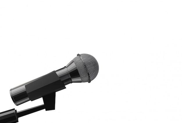 Rendu 3d. Un Côté Microphone Avec Un Tracé De Détourage Isolé Sur Fond Blanc. Photo Premium
