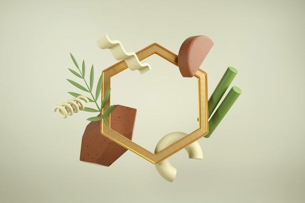 Rendu 3d Créatif Avec Cadre. Composition Moderne De Formes Et De Matériaux. Couleurs Terreuses. Photo Premium