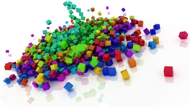 Rendu 3d de cubes de couleur arc-en-ciel Photo gratuit