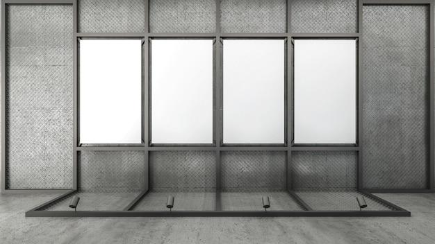 Rendu 3d du cadre d'image vide sur un treillis métallique Photo Premium