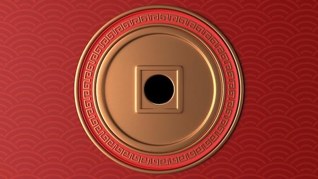 Rendu 3d Du Cercle D'or Avec Des Ornements Rouges Photo Premium