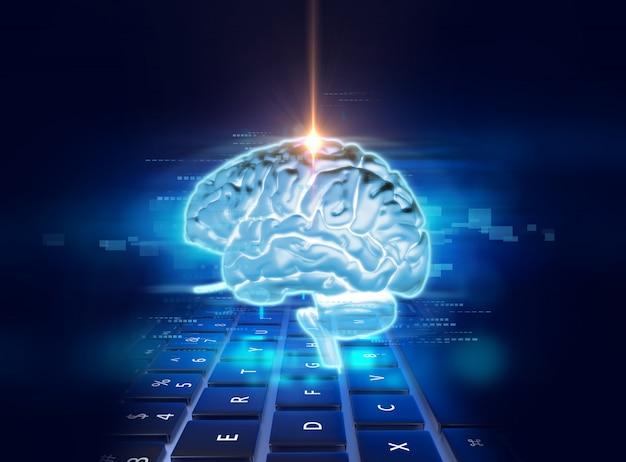 Rendu 3d du cerveau humain sur fond de technologie Photo Premium