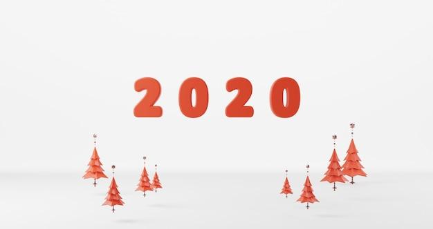 Rendu 3d Du Concept Du Nouvel An. Lave Rouge De 2020 Bonne Année Flottante Photo Premium
