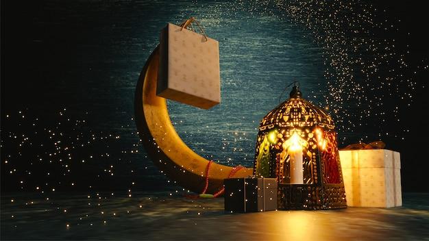 Rendu 3d du croissant de lune, lanterne illuminée et cadeaux Photo Premium