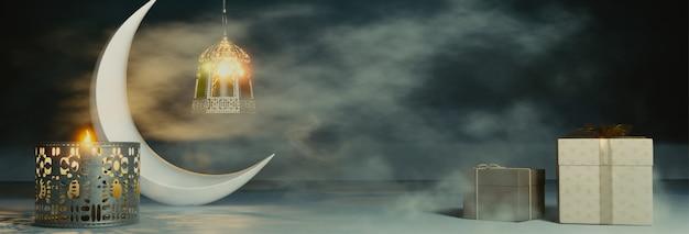Rendu 3d Du Croissant De Lune Avec Des Lanternes Et Des Cadeaux Illuminés Photo Premium