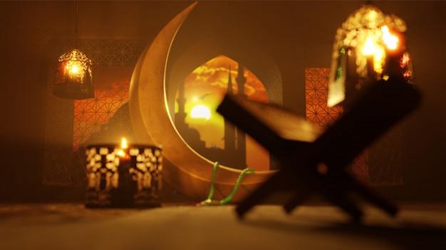 Rendu 3d du croissant de lune, lanternes lumineuses et rehal Photo Premium