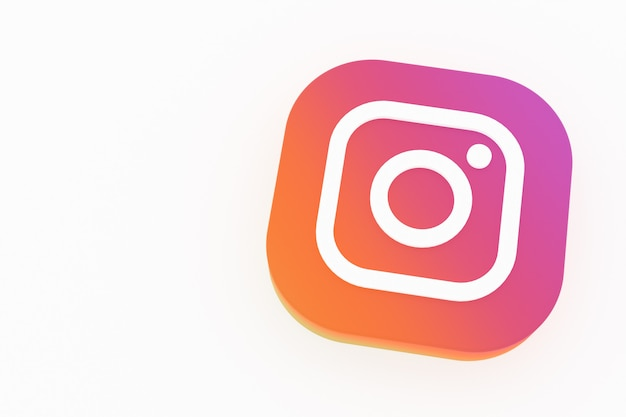Rendu 3d Du Logo De L'application Instagram Sur Fond Blanc Photo Premium