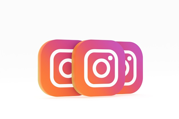 Rendu 3d Du Logo De L'application Instagram Sur Fond Blanc Photo Premium