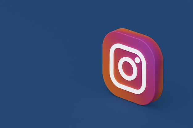 Rendu 3d Du Logo De L'application Instagram Sur Fond Bleu Photo Premium