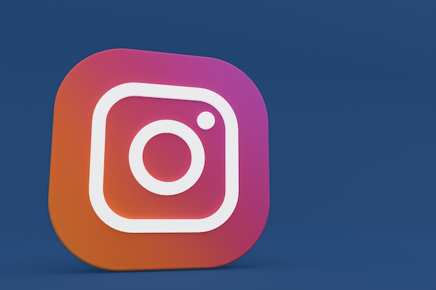 Rendu 3d Du Logo De L'application Instagram Sur Fond Bleu Photo Premium