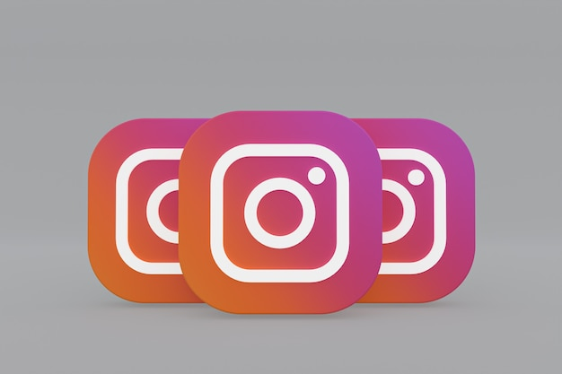 Rendu 3d Du Logo De L'application Instagram Sur Fond Gris Photo Premium