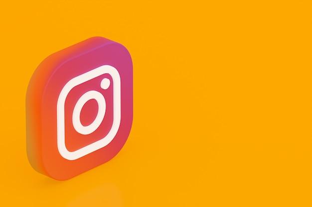 Rendu 3d Du Logo De L'application Instagram Sur Fond Jaune Photo Premium