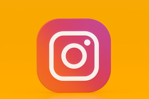 Rendu 3d Du Logo De L'application Instagram Sur Fond Jaune Photo Premium