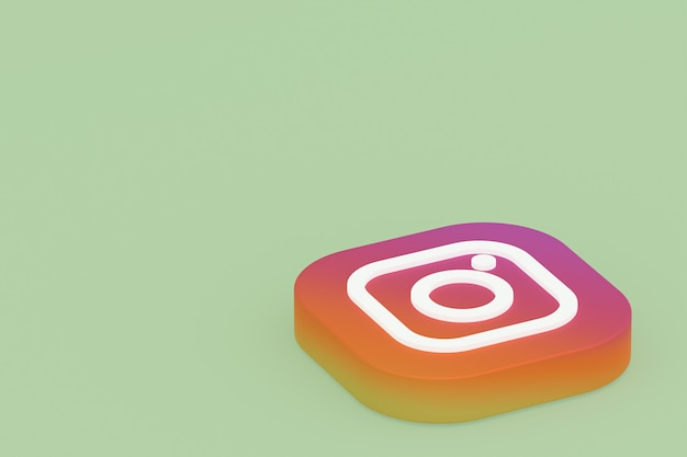 Rendu 3d Du Logo De L'application Instagram Sur Fond Vert Photo Premium
