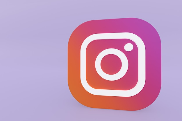 Rendu 3d Du Logo De L'application Instagram Sur Fond Violet Photo Premium