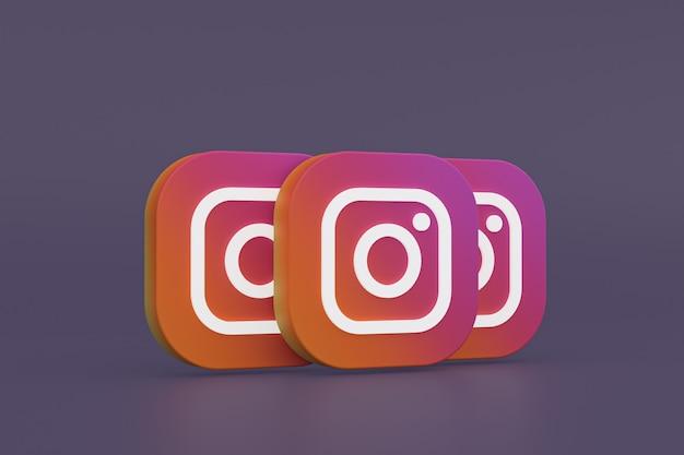 Rendu 3d Du Logo De L'application Instagram Sur Fond Violet Photo Premium