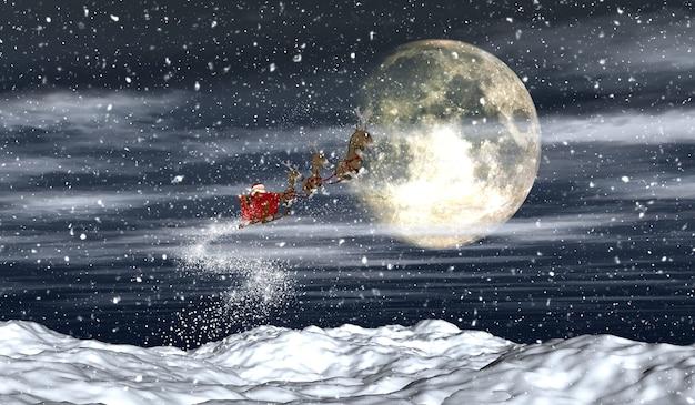 Rendu 3d Du Père Noël Volant Dans Le Ciel Nocturne Photo gratuit