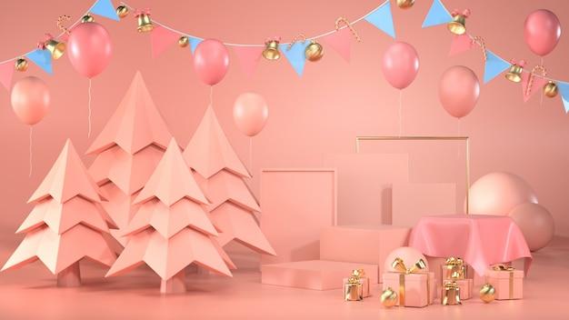 Rendu 3d Du Podium Avec Des Arbres, Des Ballons, Des Coffrets Cadeaux Et Des Guirlandes Photo Premium