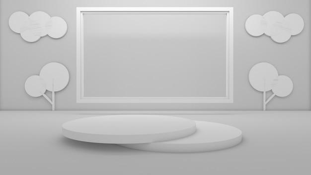Rendu 3d Du Podium De Cercle Pour Le Produit D'exposition Photo Premium