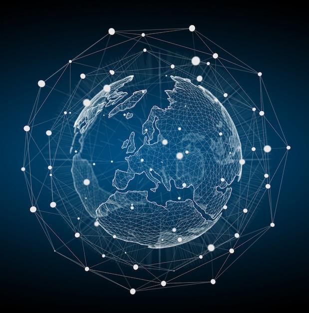 Rendu 3d du réseau de la planète terre flottant blanc et bleu Photo Premium