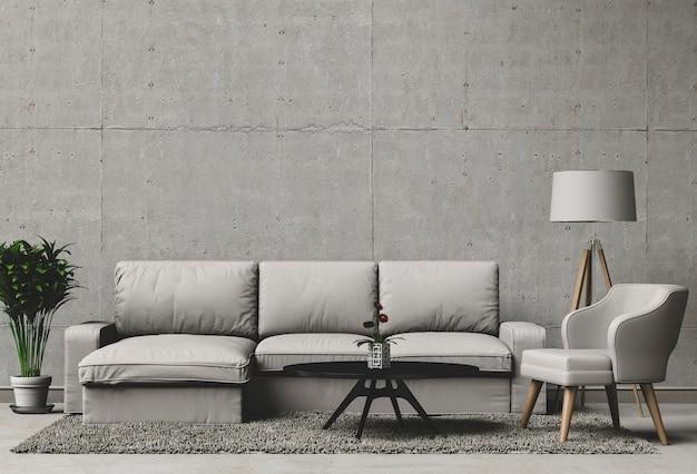 Rendu 3d du salon avec un mur de béton dans une maison moderne ...