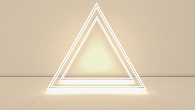 Rendu 3d Du Triangle Abstrait En Néon Photo Premium