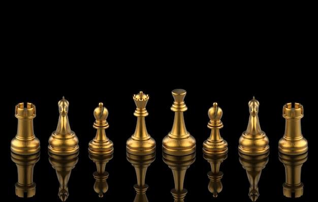 Rendu 3d. équipe de collecte de jeu d'échecs d'or sur fond noir. travail en équipe . Photo Premium