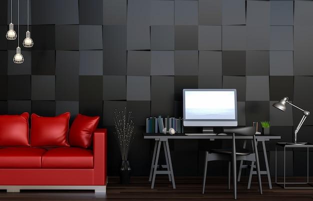 Rendu 3d de l\'espace de travail moderne salon intérieur avec canapé ...