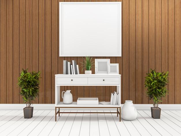 Rendu 3d, étagère blanche minimale dans le salon en bois avec plante au centre Photo Premium