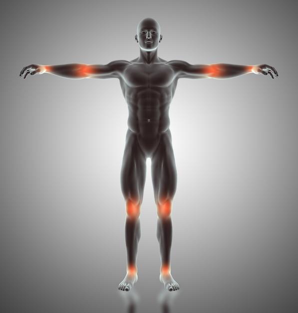 Rendu 3d d'une figure masculine avec des joints mis en évidence Photo gratuit